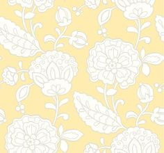 York Wallcoverings EB2056 Candice Olson Vibe Chunky Floral Wallpaper Butter Yellow / Pale Grey / White Home Decor Wallpaper Wallpaper