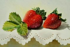 Strawberries Watercolor Auction Ending Soon..., painting by artist Jacqueline Gnott