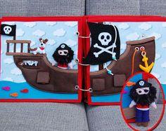 Piratebook - 2 Quiet book pages Pirate ship + pirate PATTERN & TUTORIAL