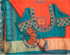 Kutch Work Designs, Mirror Work Blouse, Kids Blouse Designs, Pattu Saree Blouse Designs, Embroidery Neck Designs, Sumo, Designer Blouse Patterns, Sarees, Pattern Design