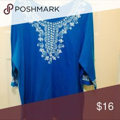 """PLUS SIZE Top Darling whit embroidered stitching.  Stretchy and 3/4 sleeves. Top length is 28"""" Women within Tops"""