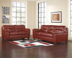 Alliston DuraBlend - Salsa Sofa & Loveseat by Signature Design by Ashley. Get your Alliston DuraBlend - Salsa Sofa & Loveseat at Dayton Discount Furniture, Fairborn OH furniture store. Red Living Room Set, Leather Living Room Set, Leather Sofa Set, Red Leather Sofas, Leather Furniture, Living Area, Chesterfield Sofa, Loveseat Sofa, Sectional Sofas