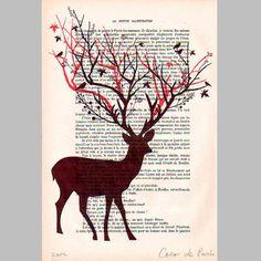 Impressions numériques, Cerf arbre- Illustration originale est une création orginale de CocoDeParis sur DaWanda