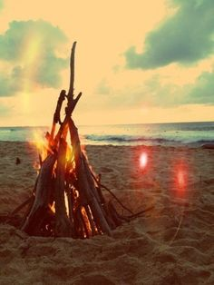 sunset bonfire on the beach #GoWest