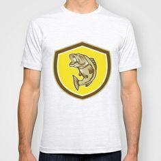 Largemouth Bass Jumping Shield Retro T-shirt