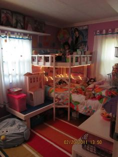 "pinner said,""Made this loft bed.. didn't use any plans but looked at Anawhite.com for ideas and modified!  DIY kids bed with reading nook.  My daughter needs this for her stuffed animals!"