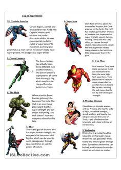 Top 10 Superheroes worksheet - Free ESL printable worksheets made by teachers Comics In English, English Class, English Lessons, Teaching English, Learn English, English Today, English Teachers, Spanish Class, Comprehension Exercises