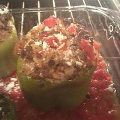 Stuffed Bell Peppers, Greek Style Allrecipes.com  A little dry and the peppers were not thoroughly cooked, but easy enough. Still looking for a better recipe