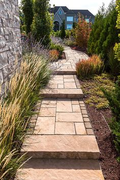 Are you having trouble budgeting a landscape project of your dreams? Our good friends at Techo-Bloc are here to help. Front Door Landscaping, Landscaping On A Hill, Garden Steps, Garden Paths, House Landscape, Landscape Design, Side Walkway, Paver Walkway, Outside Steps