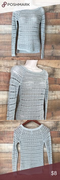 "Aeropostale XS Open Weave Summer Gray Sweater Gray Open Weave Summer Sweater Great Coverup too!  Pit to pit measures 15""Shoulders 16"" Sleeves Length 27"" Length 25-27"" Aeropostale Sweaters"