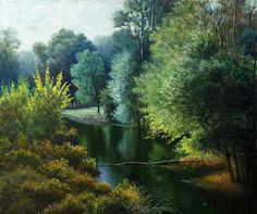 Painting for sale 'At the pond'  painting art sale realism landscape paintings