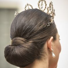 Crown Princess Victoria opted for an elegant low chignon like her new sister-in-law.