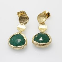 Sterling Silver Stud Earrings with Green Onyx stone, plated in 24k gold