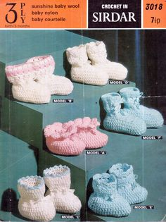 Genuine vintage 1960s Baby Pretty Unusual Bootees '6' Set ALL Different Crochet Pattern