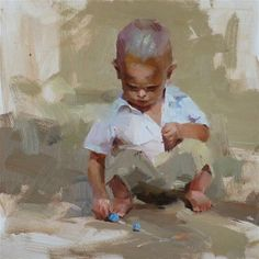 """A Young Artist"" - Original Fine Art for Sale - © Qiang Huang w"