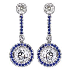 Sapphire Diamond Drop Earrings | From a unique collection of vintage dangle earrings at https://www.1stdibs.com/jewelry/earrings/dangle-earrings/
