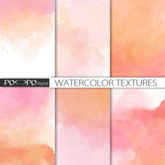 Ombre watercolor digital paper watercolour scrapbook hand painted red pink orange peach pastel wedding invitation texture background DIY