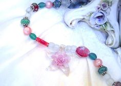 "Pink Glass Beads, Blue Green Lampwork Bead Charms' Jade, Pearl, Venetian Star Necklace & Earring Set ""Venetian Jewels of the Sea"", SALE  Ask a Question $100.00 USD"