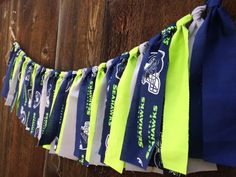 Seattle Seahawks Navy Lime NFL fabric garland / rag tie / banner / bunting / tailgate party / superbowl champions / college / blue friday on Etsy, $25.00