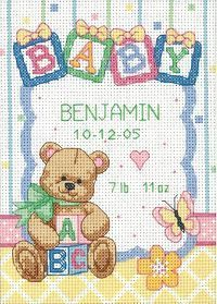 Free Printable Baby Birth Record Cross Stitch Patterns | Smaller Sizes for Quicker Stitching on 14-count Aida. All kits include ...