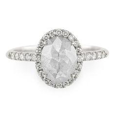 1.7 Carat Grey Rose Cut Diamond Engagement Ring