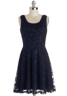 A Simple Gesture Dress - Woven, Mid-length, Blue, Lace, Casual, A-line, Tank top (2 thick straps), Scoop