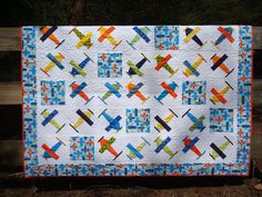 Airplane Quilt. $130.00, via Etsy.