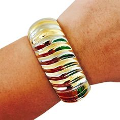 Fitbit Bracelet for FitBit Flex Fitness Trackers - The CLARISSA Gold and Silver Ridged Bangle Bracelet by FUNKtional Wearables