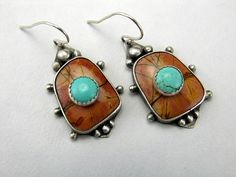 Kingman Mine Turquoise on Picasso Jasper Earrings