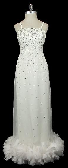 Norman Norell White Evehing Dress with Feather Hem 1960s