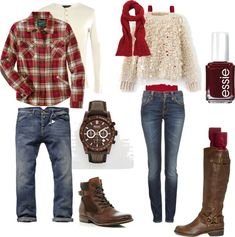 """Couples Autumn What To Wear"" red + tan + denim + brown Family Outfits, Couple Outfits, Fall Family Picture Outfits, Family Portrait Outfits, What To Wear Fall, How To Wear, Winter Family Photos, Family Pics, Family Pictures What To Wear"