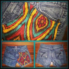 7 for all ManKind jeans size 6 distressed on back with Aztec Tribal fabric machine sewn onto front right panel by BreezyReign, $42.00