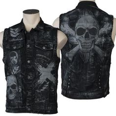 Collection of rock and roll custom jackets and vests hand crafted in the Wornstar Chop Shop in Chicago USA. The best source for custom stage clothes. Black Denim Vest, Denim Vests, Black Blazers, Mens Leather Waistcoat, Leather Jacket, Sleeveless Denim Jackets, Stylish Eve Outfits, Punk Outfits, Gothic Outfits