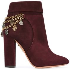 Aquazzura chain detail booties (£900) ❤ liked on Polyvore featuring shoes, boots, ankle booties, burgundy booties, burgundy suede booties, aquazzura, aquazzura booties and burgundy boots