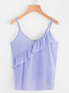 Shop Frill Trim Grid Checkered Cami Top online. SheIn offers Frill Trim Grid Checkered Cami Top & more to fit your fashionable needs.