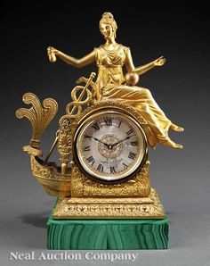 A French or Russian Gilt Bronze Figural Mantel Clock, c., surmounted by a seated female figure, probably emblematic of Peace, Antique Wall Clocks, Antique Mantel, Wall Clock Wooden, Vintage Clocks, Unusual Clocks, Cool Clocks, Classic Clocks, Wall Clock Online, Wall Clock Design