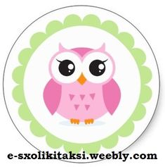 shop cute pink owl cartoon inside green border postage created by