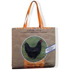 Recycled Chicken Feed Bag Tote by OneWomanStudio on Etsy - I have three or four of her shopping bags. Love them!