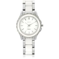 DKNY Designer Women's Watches Westside White Ceramic and Silver... (16.145 RUB) ❤ liked on Polyvore featuring jewelry, watches, silver, women's watches, chrono watch, stainless steel watches, water resistant watches, silver chronograph watch and stainless steel chronograph watch