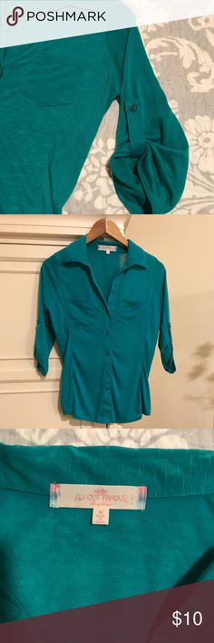 Green button down blouse Green button down blouse.  Size Medium.  Excellent condition Almost Famous Tops Button Down Shirts