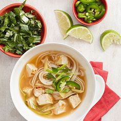 Pho, a Vietnamese noodle soup, becomes extra speedy when you use precooked or rotisserie chicken. A robust broth flavored with fresh ginger, fish sauce, star anise, and cinnamon makes the restaurant favorite irresistible. Easy Chicken Recipe Tip: Cook the noodles at the same times as you prepare the broth for even faster prep!