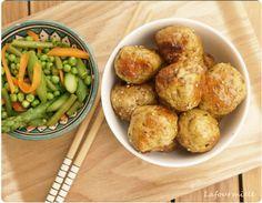 #Boulettes de #poulet au sésame et petits légumes - #meatballs