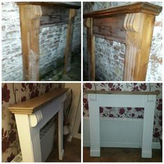 Old Pine Fire Surround upcycled using Annie Sloan Chalk Paint in Pure Batch turned this around lovely