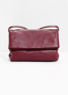 Other Stories image 1 of Fold-Over Leather Crossbody   in Plum