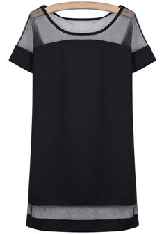 Black contrast tee style dress - love the paneling! $19