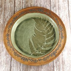 Large Pottery Plate with Fern Leaf - Ceramic Charger -  Handbuilt Pottery Serving Plate - Green Brown - 586