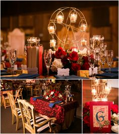 Heidi and Joey's Vintage Circus New Year's Eve Wedding Vintage Circus Party, Carnival Wedding, Vintage Carnival, Circus Centerpieces, Circus Decorations, Gala Themes, Prom Themes, Vintage Travel Wedding, Circo Vintage