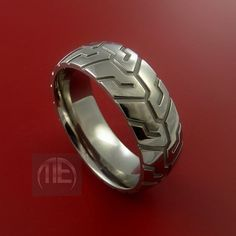 Titanium Carved Design Ring Bold Unique Band by StonebrookJewelry, $118.92