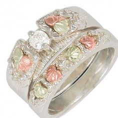 Sterling Silver Diamond Wedding Ring Set - MyBlackHillsGold.com