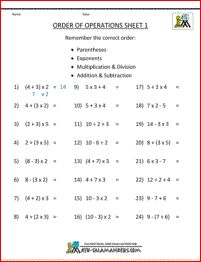 PEMDAS rule - Order of Operations Sheet 1 - a useful sheet to help you introduce the PEMDAS rule.